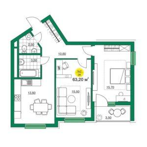 двухкомнатная квартира в iTower