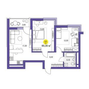 двухкомнатная квартира в ЖК iTower