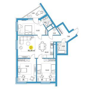 трёхкомнатная квартира в ЖК iTower